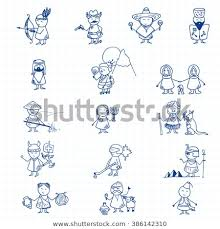 Funny People Icons On Blue Graph Stock Vector Royalty Free