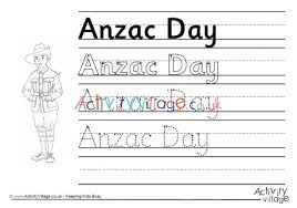 Anzac Day Handwriting Worksheet