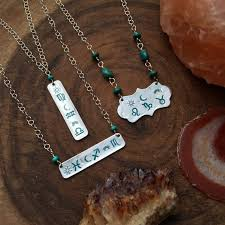 Custom Astrology Necklace Turquoise Jewelry Bar Necklace Birth Chart Necklace Zodiac Jewelry Natal Necklace