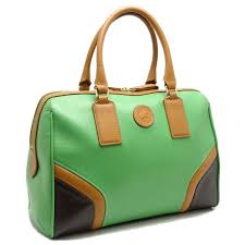 hunting world boston bag pvc leather green dark brown 050533 reebonz philippines