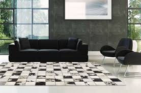 madisons black and white cow spot square pattern patchwork cowhide rug 6x9