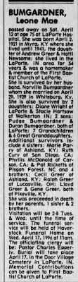 Aunt Leona Greer Bumgardner obit. - Newspapers.com