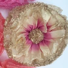 Pink Paper Flower Decorations Nine Coral Hot Pink And Gold Hand Dyed Paper Flowers