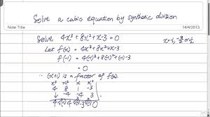 gce o level a maths solve a cubic equation by synthetic division you