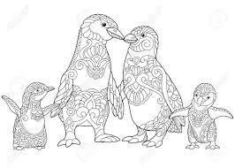 Kleurplaat Van Keizer Pinguïns Familie Geïsoleerd Op Een Witte