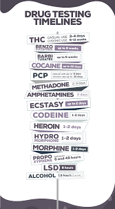 How Long Do Drugs Stay In Your System Chart Drug Testing Methods And Timeline For The Top 8 Most Abused