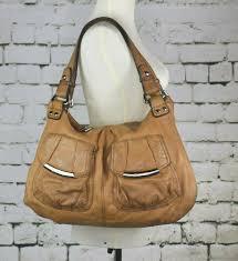 details about b makowsky tan camel pebbled leather hobo shoulder hand bag purse