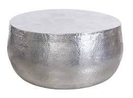 silver hammered aluminum round coffee table with removable lid and storage