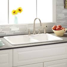 33 Elgin 6040 Offset Double Bowl Cast Iron Drop In Kitchen Sink
