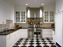 white kitchen tile floor. Modern Kitchen With Black And White Tiles Floor Tile