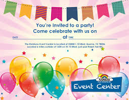 Free Party Invitation Download Rainbow Event Center