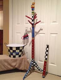 Painted Coat Rack Whimsical Painted Furniture Painted Coat Tree Painted Coat Rack 2