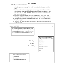 Apa Cover Sheet Template 12 Apa Cover Sheet Templates Free Sample Example Format