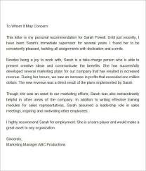 letter for recommendation letter of recommendation for employment personal letter of within