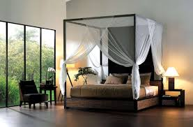 romantic master bedroom with canopy bed. Romantic Canopy Beds White Nightstand Transparent Glass Window Classic Table Lamp Cream Transparency Curtain Brown Wood Carving Sofa Master Bedroom With Bed