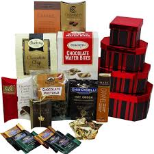 deluxe chocolate tower gift baskets