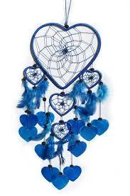 heart dream catcher with capiz blue