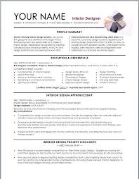 sample interior design resume