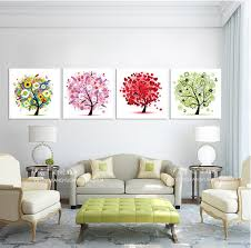 free canvas painting single painting abstract happy tree colorful tree for living room children s room