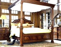 Full Size White Canopy Bed White Canopy Bedroom Set Wood Canopy ...
