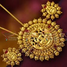 ps6162 antique nagas laxmi pendant sets south indian temple jewellery
