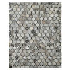 gray cowhide rug gray cowhide patchwork 8 x area rug main image 1 of metallic grey