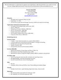 College Application Resume Sample Resume Samples