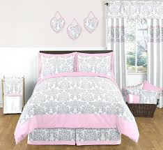 pink bed skirt full sweet designs pink gray damask girls kids teens full queen grey bedding