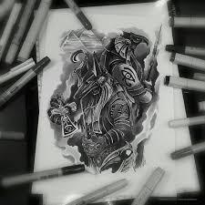 тату эскиз омон ра и анубис эскиз нарисован в цвете маркерами Copic