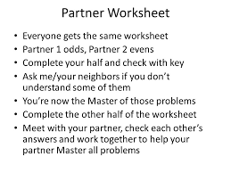 4 partner worksheet
