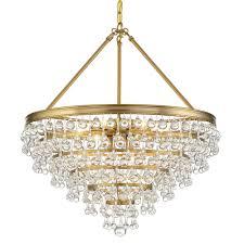 crystorama calypso 8 light crystal teardrop vibrant gold chandelier