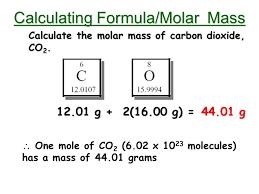 The Mole Calculating Formula Molar Mass Calculate The Molar