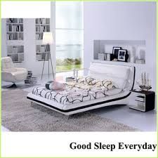 Exclusive Best Selling European Designs Bed Finished in White Faux Leather  Simple Wooden Double Beds