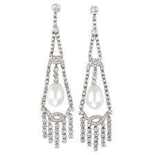 1920s art deco natural pearl diamond chandelier platinum earrings for