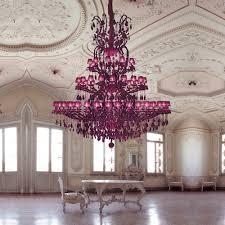 large fuchsia pink glass chandelier