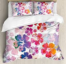 hawaiian duvet covers.  Hawaiian Hawaiian Duvet Cover Set By Ambesonne Exotic Floral Print Island Theme  Tropical Hawaii Flowers Pattern And Covers Amazoncom