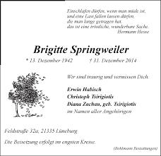 Brigitte Springweiler Traueranzeige Lz Gedenkkerzen Kondolenzen