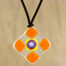 orange and multi color geometric art glass pendant necklace tangerine treat