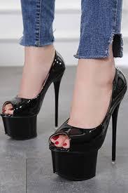 black patent leather p toe platform sti high heel pumps