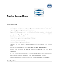 Ruhina Anjum Khan Career Summary  Certified System Architect 7.1 in PRPC  from Pega Systems Inc ...
