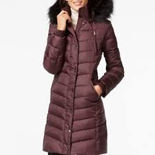 dkny faux fur trim hooded down puffer coat