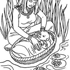 Small Picture Depiction of the Finding of Baby Moses Coloring Page Color Luna