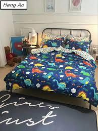 100 cotton cartoon animal dinosaur print flaming duvet cover bed sheet set children blue bedding set bedding sheet sets toddler bedding sets from isaaco