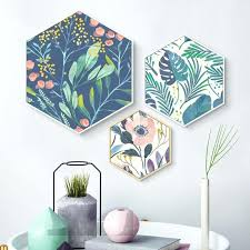hexagon wall art with frame and 3d