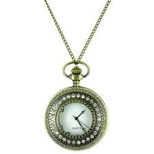 ilovefashionaccessories clear crystal on antique gold diamante pocket watch necklace