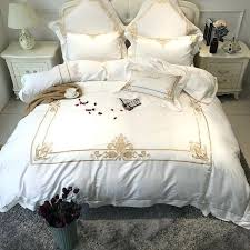 cotton white color luxury hotel bedding set gold embroidered bed sheet duvet cover king queen size