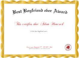 Best Boyfriend Ever Award Certificate Created With Certificatefun Com