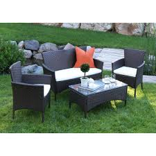 walker edison furniture company brown rattan 4 piece patio set with white cushions