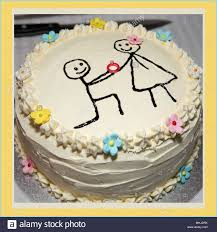 A Simple Homemade Engagement Cake Stock Photo 182958823 Alamy