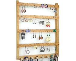 Wall Jewelry Organizer Oak Wood Wall Mount Earring Holder With Necklace Bracelet